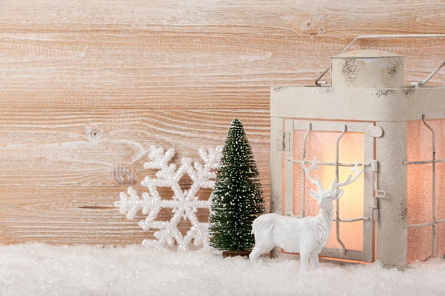 Christmas background with decoration and lantern