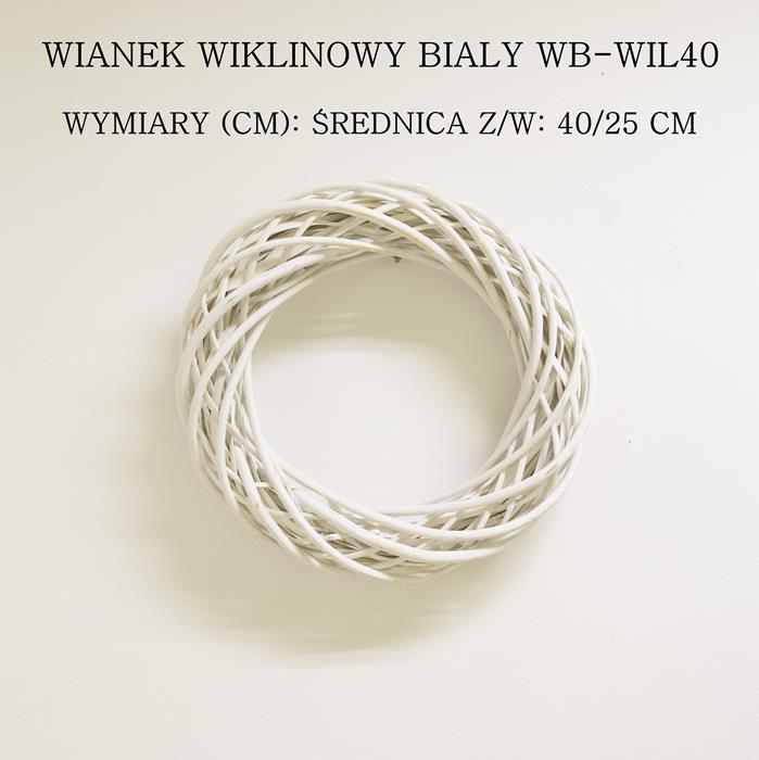 biały wianek z wikliny